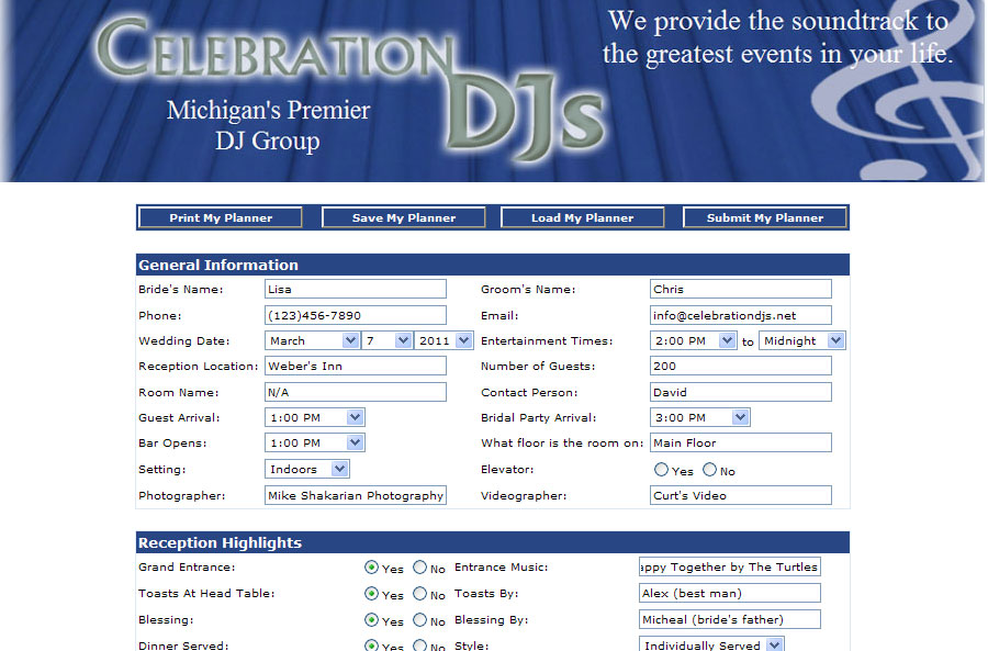 Schedule celebration djs for your event music Planning tools